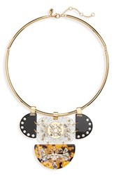 J.Crew Crystal And Lucite Collar Necklace Tortoise