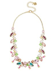 Betsey Johnson Flat Out Floral Mixed Stone Collar Necklace Multicolor