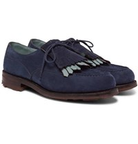 J.M. Weston Leather Trimmed Suede Kiltie Derby Shoes Navy