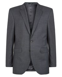 Jaeger Men's Regular Windowpane Check Jacket Grey