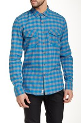 Micros Union Long Sleeve Plaid Shirt Blue