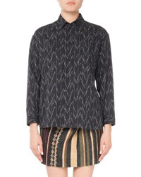 Saint Laurent Ikat Print Blouse Blue