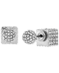 Bcbgeneration Silver Tone Pave Ball And Cube Front To Back Earrings