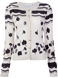 Prabal Gurung Sequin Embroidery Cardigan White