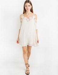 Pixie Market Ivory Chiffon Lace Pleated Off The Shoulder Dress