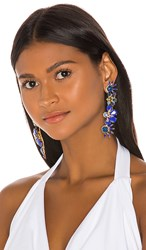 Elizabeth Cole Alva Earrings In Metallic Gold. Blueberry Blue