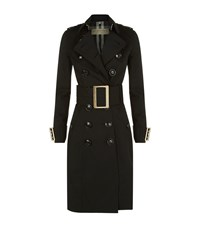 Burberry Oversized Buckle Cotton Gabardine Trench Coat Female Black