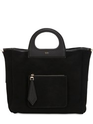 Max Mara Grac11s Reversible Suede And Shearling Bag Black