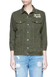 Sandrine Rose 'The Denim Jacket' With Slogan Embroidery Green