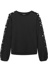 Giambattista Valli Guipure Lace Paneled Cotton Jersey Sweatshirt Black
