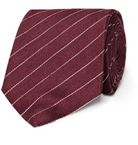 Dunhill 8Cm Striped Linen And Mulberry Silk Blend Tie Burgundy