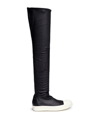 Rick Owens 'Ramones' Leather Thigh High Boots Black