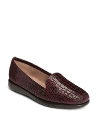Aerosoles Army Patent Leather Loafers Dark Red Croco