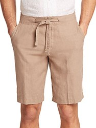Saks Fifth Avenue Linen Drawstring Shorts Taupe