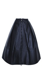 Tibi Leather Pleated Full Skirt
