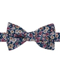 Tommy Hilfiger Men's Jason Floral Print To Tie Bow Tie Navy