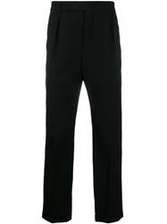 Saint Laurent Cuffed Tailored Trousers Black