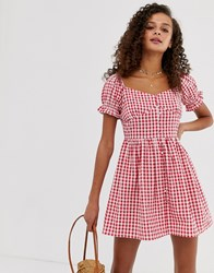 Influence Gingham Milkmaid Dress Red