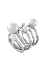 Women's Vince Camuto Faux Pearl Rings Silver Pearl Set Of 5