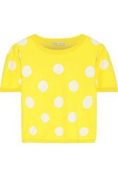 Alice Olivia Woman Ciara Cropped Polka Dot Jacquard Knit Sweater Yellow