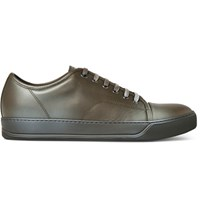 Lanvin Cap Toe Leather Sneakers Army Green