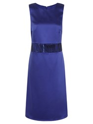 Hotsquash Sequin Wasitband Dress In Clever Fabric Royal Blue