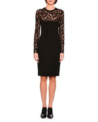 Stella Mccartney Long Sleeve Lace Pencil Dress Black