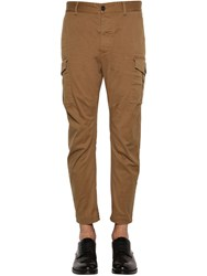 Dsquared 16Cm Sexy Stretch Cotton Cargo Pants Camel