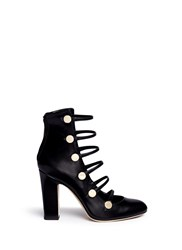Jimmy Choo 'Venice' Button Caged Leather Boots Black