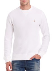 Polo Ralph Lauren Pima Cotton Crewneck Pullover Faded Royal White Light Heather
