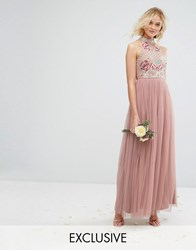 Maya High Neck Embroidered Rose Tulle Maxi Dress Pale Mauve Brown