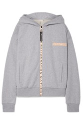 P.E Nation Apex Embroidered Rubber Trimmed Cotton Jersey Hooded Top Gray