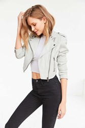 Members Only High Low Moto Jacket Light Grey