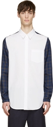 3.1 Phillip Lim White And Blue Contrast Sleeve Shirt