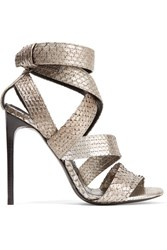 Tom Ford Metallic Python Sandals Silver