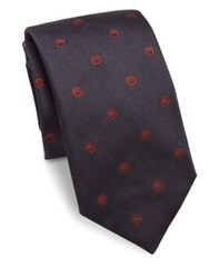Saks Fifth Avenue Sphere Dot Silk Tie Green Navy Brown