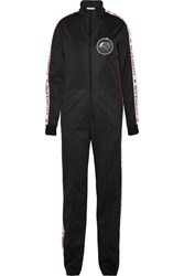 Givenchy Appliqued Printed Satin Jersey Jumpsuit Black
