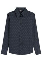 A.P.C. Printed Cotton Shirt Blue
