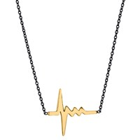 Delphine Leymarie Amour Heartbeat Necklace 18K Gold On Oxidized Silver Chain