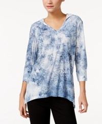 Styleandco. Style Co. Sublimated Print Hoodie Only At Macy's Industrial Blue