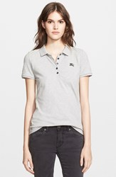 Women's Burberry Brit Cotton Pique Polo Pale Grey Melange