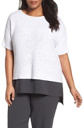 Eileen Fisher Plus Size Women's Organic Linen And Cotton Knit Top White