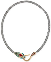 Betsey Johnson Gold Tone Mesh Crystal Snake Collar Necklace No Color