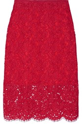 Diane Von Furstenberg Glimmer Corded Lace Pencil Skirt Red