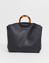 French Connection Faux Leather Tote Bag With Tortoiseshell Grab Handle Black