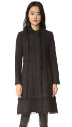 Rebecca Taylor Boucle Tweed Coat Black