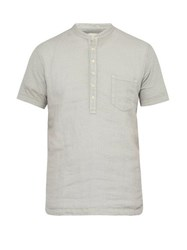 120 Lino Linen Henley T Shirt Light Grey