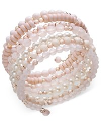 Inc International Concepts Rose Gold Tone Beaded Coil Bracelet Created For Macy's Pink
