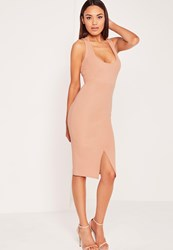 Missguided Scoop Neck Split Front Ribbed Bodycon Dress Nude