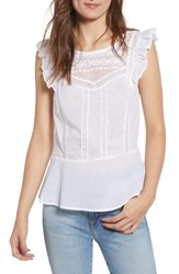 Hinge Mixed Lace Peplum Top White